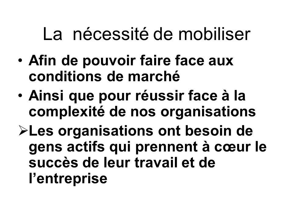 La nécessité de mobiliser Afin de pouvoir faire face aux conditions de marché Ainsi que pour réussir face à la complexité de nos organisations Les org