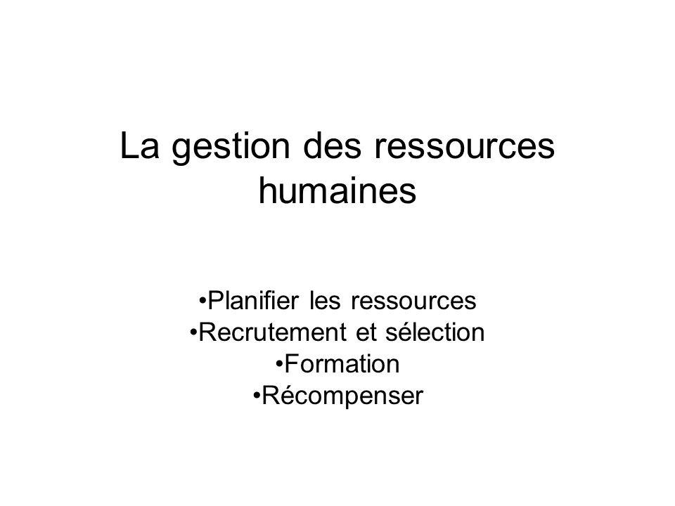 La gestion des ressources humaines Planifier les ressources Recrutement et sélection Formation Récompenser