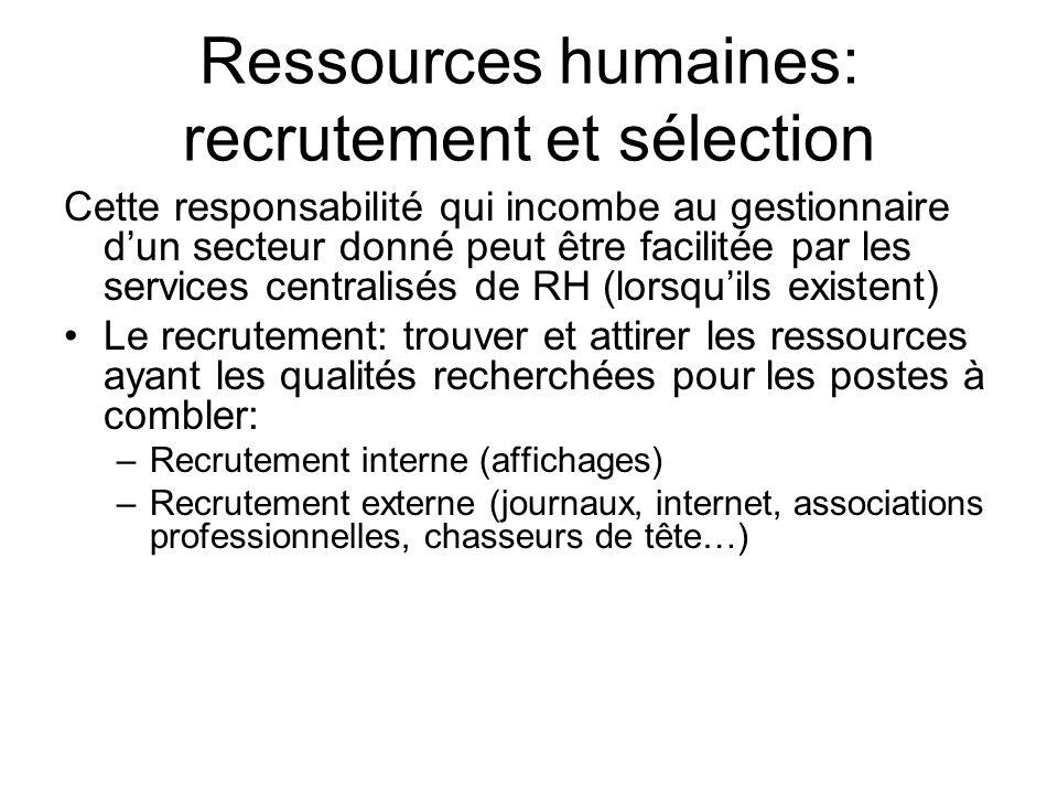 Ressources humaines: recrutement et sélection Cette responsabilité qui incombe au gestionnaire dun secteur donné peut être facilitée par les services