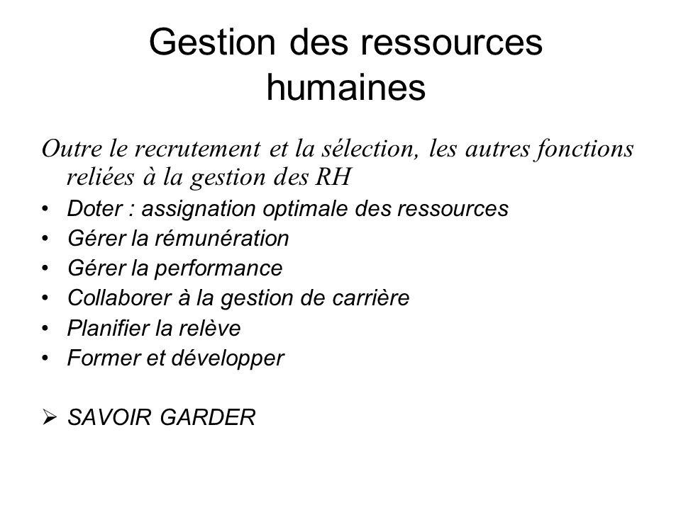 Gestion des ressources humaines Outre le recrutement et la sélection, les autres fonctions reliées à la gestion des RH Doter : assignation optimale de