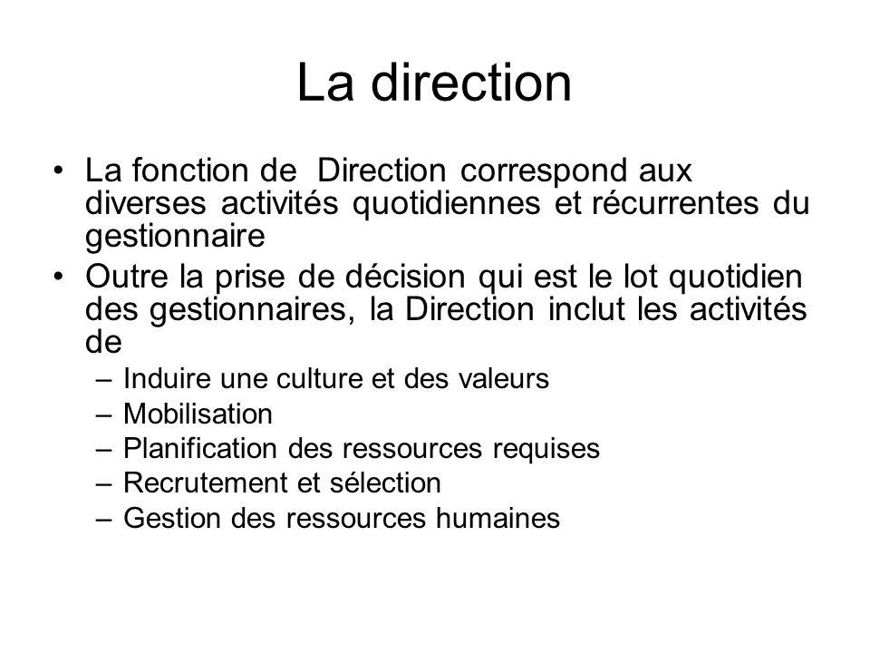 La direction La fonction de Direction correspond aux diverses activités quotidiennes et récurrentes du gestionnaire Outre la prise de décision qui est