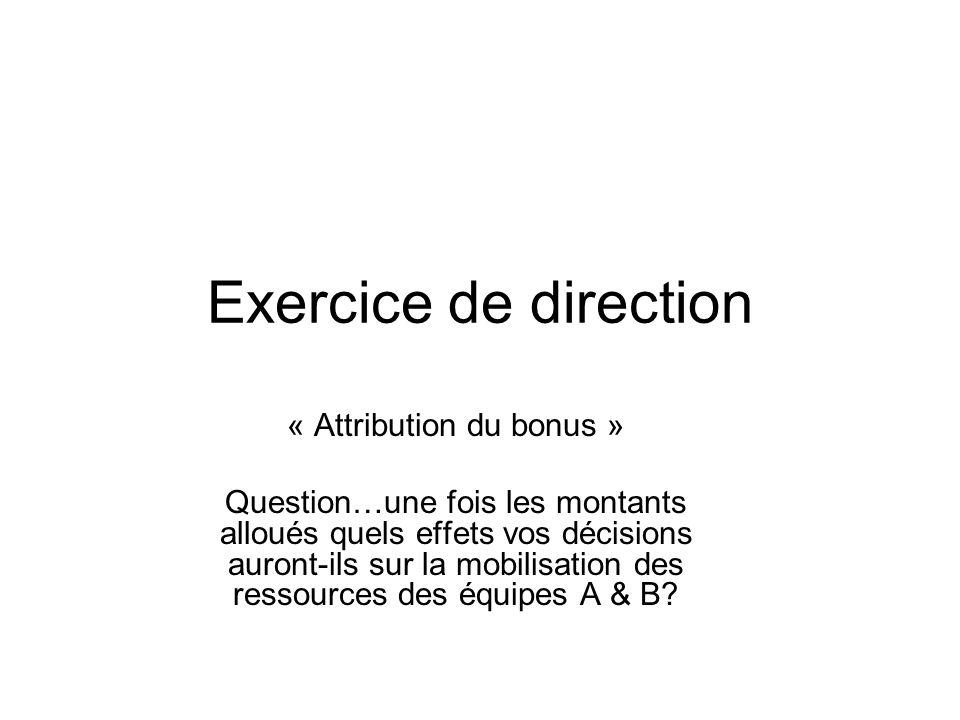 Exercice de direction « Attribution du bonus » Question…une fois les montants alloués quels effets vos décisions auront-ils sur la mobilisation des re