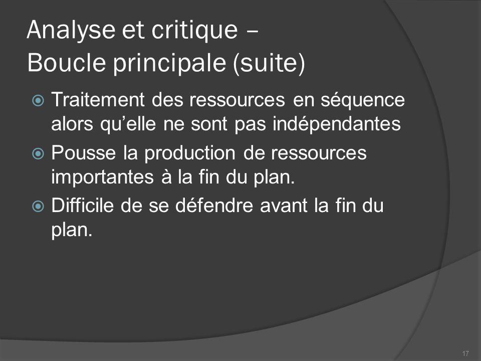Analyse et critique – Boucle principale (suite) Traitement des ressources en séquence alors quelle ne sont pas indépendantes Pousse la production de ressources importantes à la fin du plan.