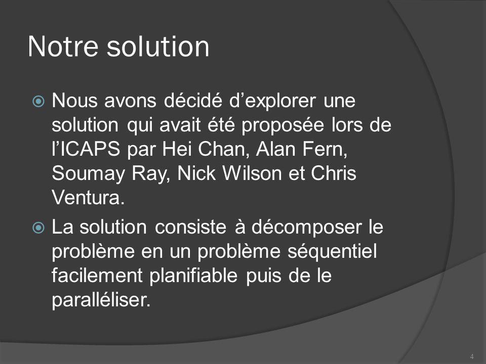 Notre solution Nous avons décidé dexplorer une solution qui avait été proposée lors de lICAPS par Hei Chan, Alan Fern, Soumay Ray, Nick Wilson et Chris Ventura.