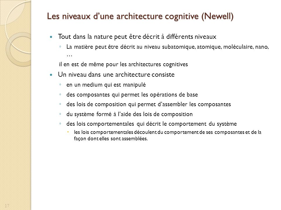 Les niveaux dune architecture cognitive (Newell) Tout dans la nature peut être décrit à différents niveaux La matière peut être décrit au niveau subat