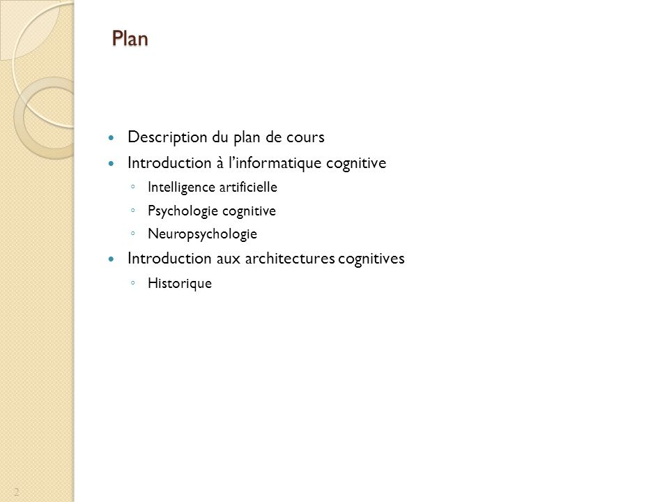 Plan Description du plan de cours Introduction à linformatique cognitive Intelligence artificielle Psychologie cognitive Neuropsychologie Introduction