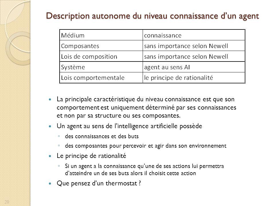 Description autonome du niveau connaissance dun agent La principale caractéristique du niveau connaissance est que son comportement est uniquement dét