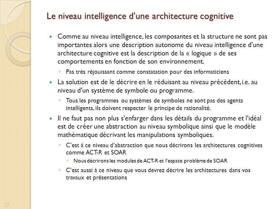 Le niveau intelligence dune architecture cognitive Comme au niveau intelligence, les composantes et la structure ne sont pas importantes alors une des