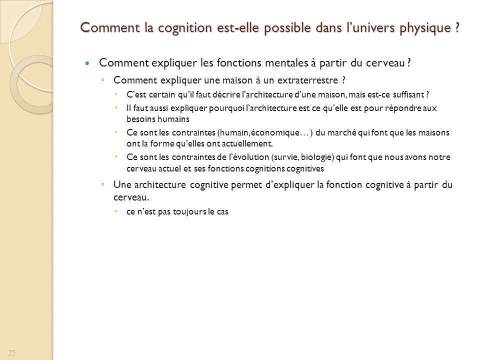 Comment la cognition est-elle possible dans lunivers physique ? Comment expliquer les fonctions mentales à partir du cerveau ? Comment expliquer une m