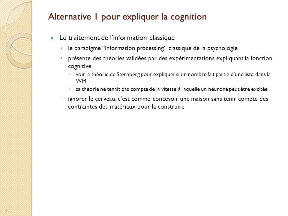 Alternative 1 pour expliquer la cognition Le traitement de linformation classique le paradigme information processing classique de la psychologie prés