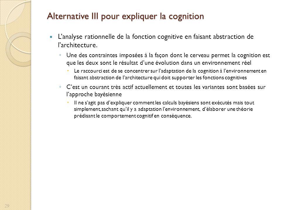 Alternative III pour expliquer la cognition Lanalyse rationnelle de la fonction cognitive en faisant abstraction de larchitecture. Une des contraintes