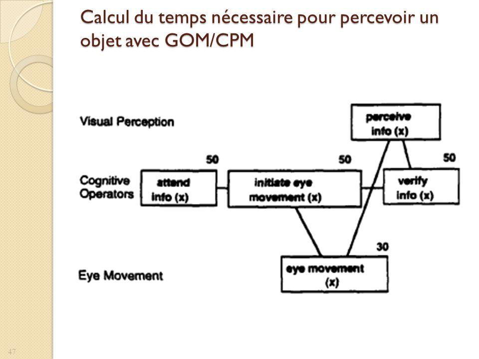 Calcul du temps nécessaire pour percevoir un objet avec GOM/CPM 47