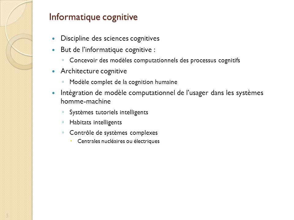 Informatique cognitive Discipline des sciences cognitives But de linformatique cognitive : Concevoir des modèles computationnels des processus cogniti