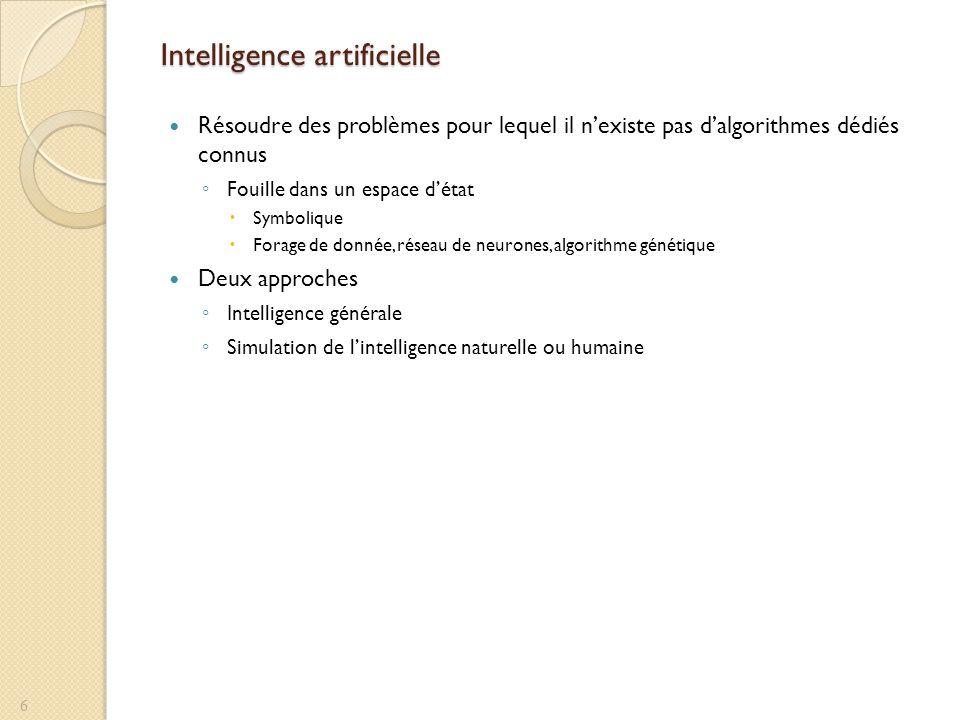 Intelligence artificielle Résoudre des problèmes pour lequel il nexiste pas dalgorithmes dédiés connus Fouille dans un espace détat Symbolique Forage