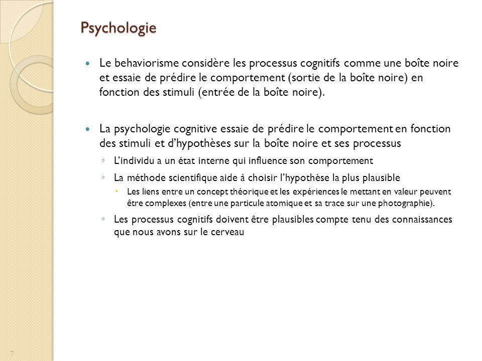 Psychologie Le behaviorisme considère les processus cognitifs comme une boîte noire et essaie de prédire le comportement (sortie de la boîte noire) en