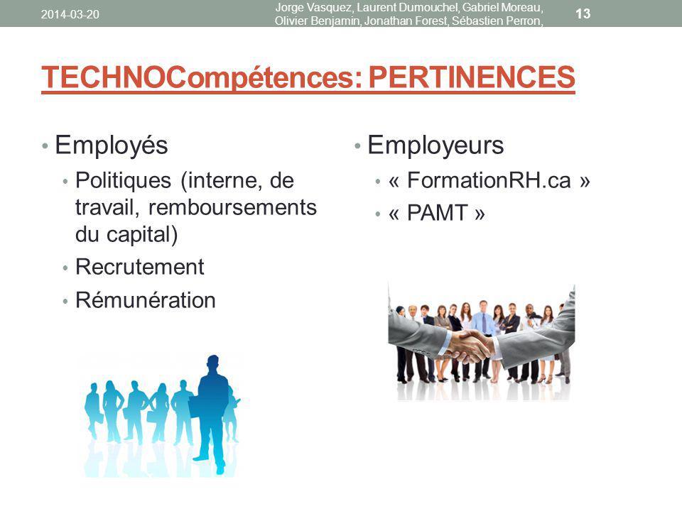 TECHNOCompétences: PERTINENCES Employés Politiques (interne, de travail, remboursements du capital) Recrutement Rémunération Employeurs « FormationRH.