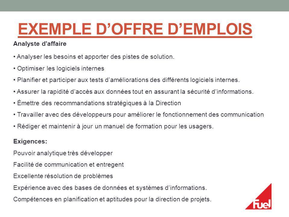 EXEMPLE DOFFRE DEMPLOIS Analyste d'affaire Analyser les besoins et apporter des pistes de solution. Optimiser les logiciels internes Planifier et part