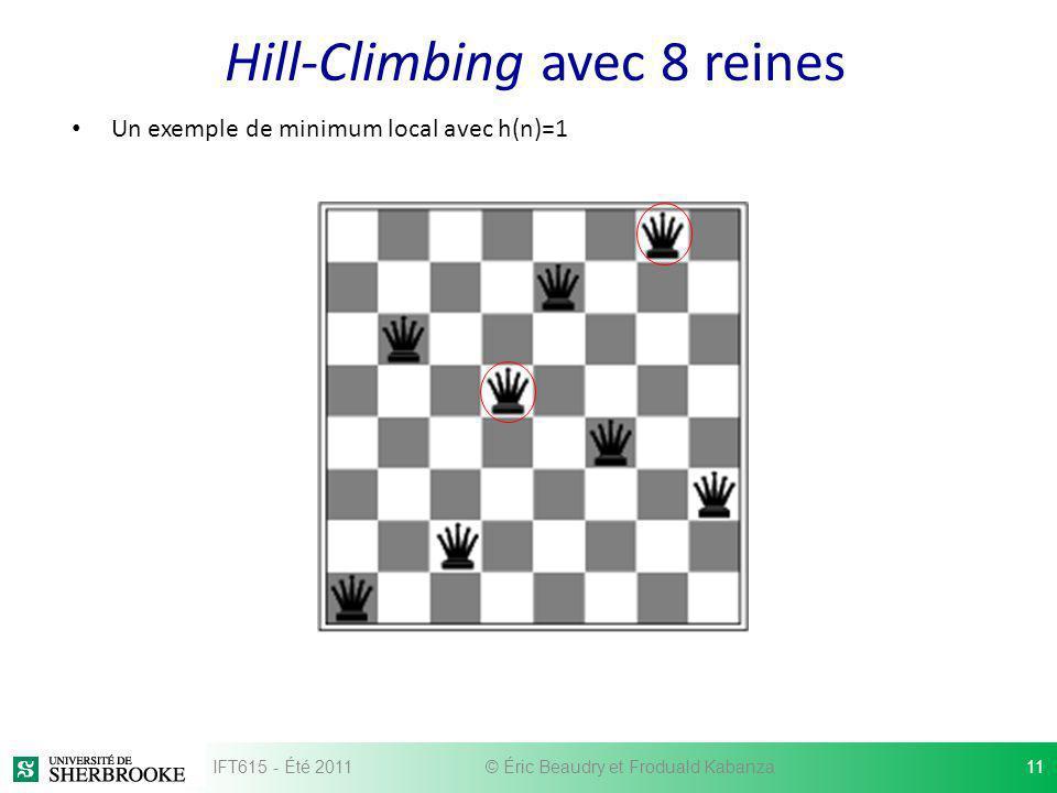 Hill-Climbing avec 8 reines Un exemple de minimum local avec h(n)=1 IFT615 - Été 201111© Éric Beaudry et Froduald Kabanza
