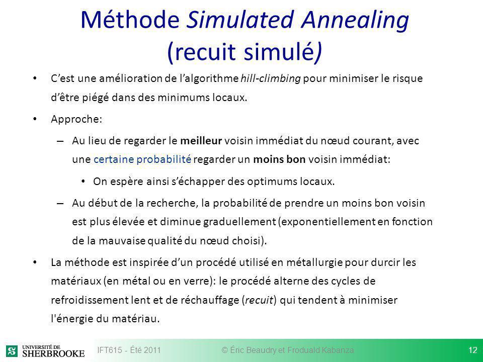Méthode Simulated Annealing (recuit simulé) Cest une amélioration de lalgorithme hill-climbing pour minimiser le risque dêtre piégé dans des minimums