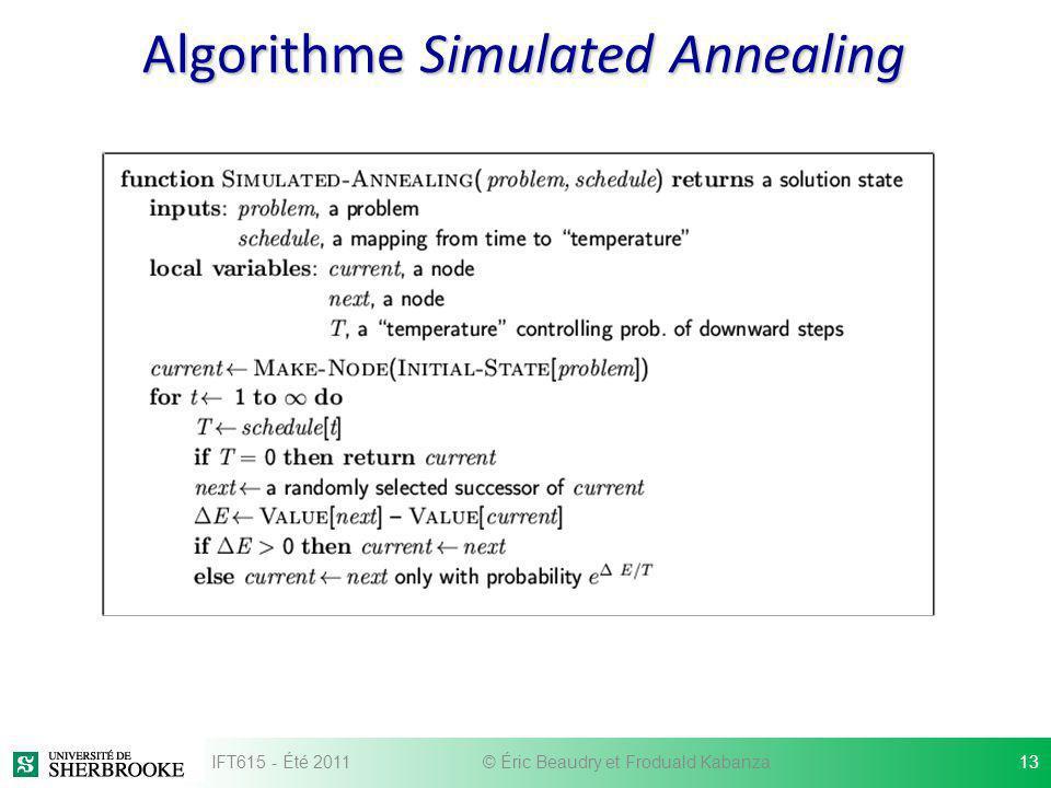 Algorithme Simulated Annealing IFT615 - Été 201113© Éric Beaudry et Froduald Kabanza