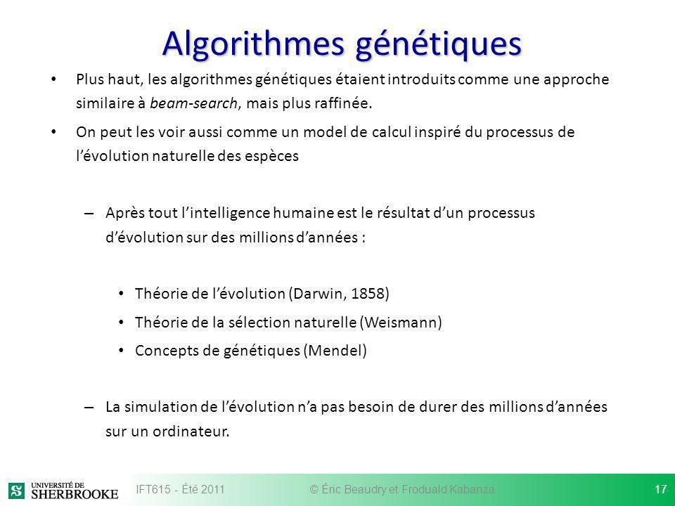 Algorithmes génétiques Plus haut, les algorithmes génétiques étaient introduits comme une approche similaire à beam-search, mais plus raffinée. On peu