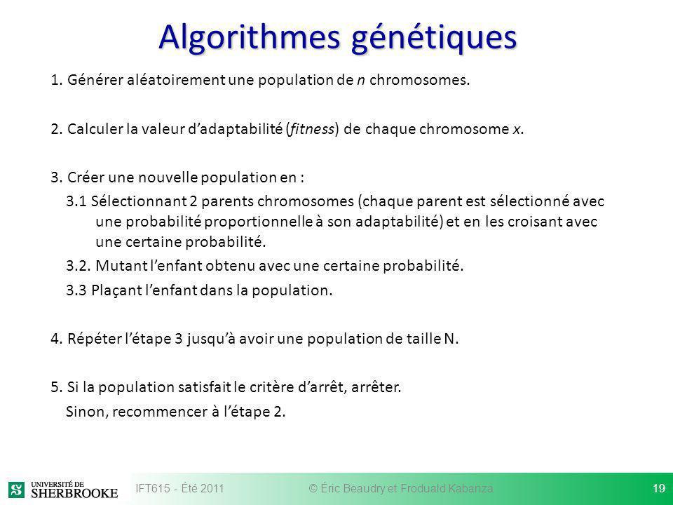 Algorithmes génétiques 1. Générer aléatoirement une population de n chromosomes. 2. Calculer la valeur dadaptabilité (fitness) de chaque chromosome x.