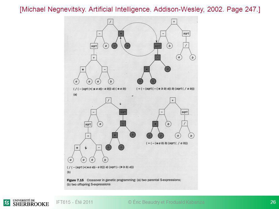 [Michael Negnevitsky. Artificial Intelligence. Addison-Wesley, 2002. Page 247.] IFT615 - Été 201126© Éric Beaudry et Froduald Kabanza
