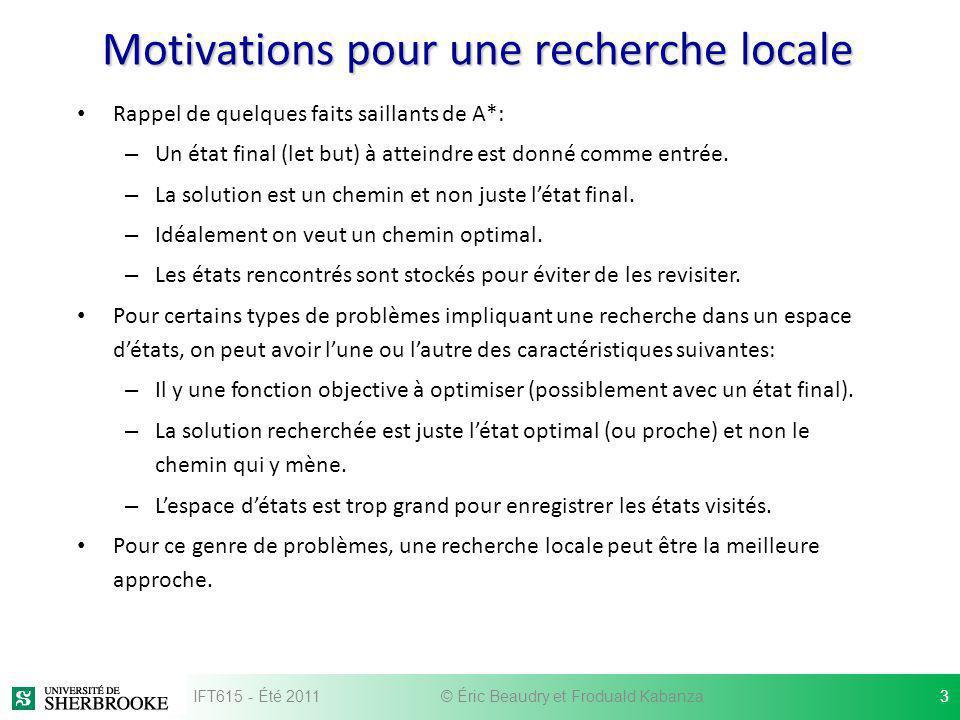 Motivations pour une recherche locale Rappel de quelques faits saillants de A*: – Un état final (let but) à atteindre est donné comme entrée. – La sol