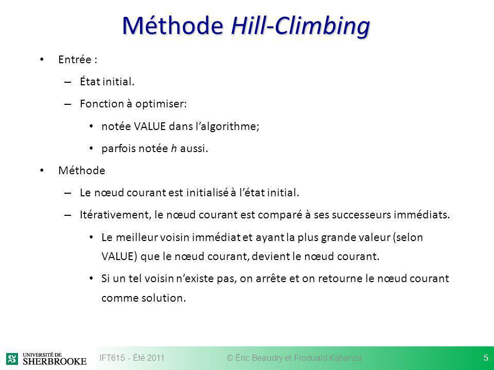 Méthode Hill-Climbing Entrée : – État initial. – Fonction à optimiser: notée VALUE dans lalgorithme; parfois notée h aussi. Méthode – Le nœud courant