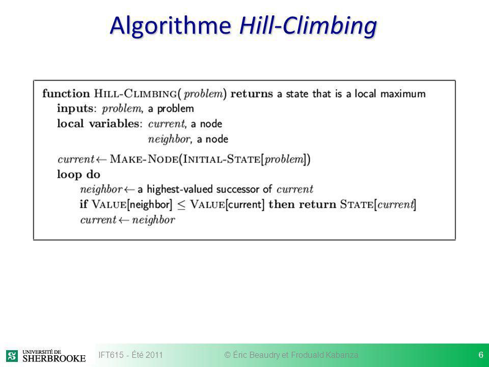 Algorithme Hill-Climbing IFT615 - Été 20116© Éric Beaudry et Froduald Kabanza