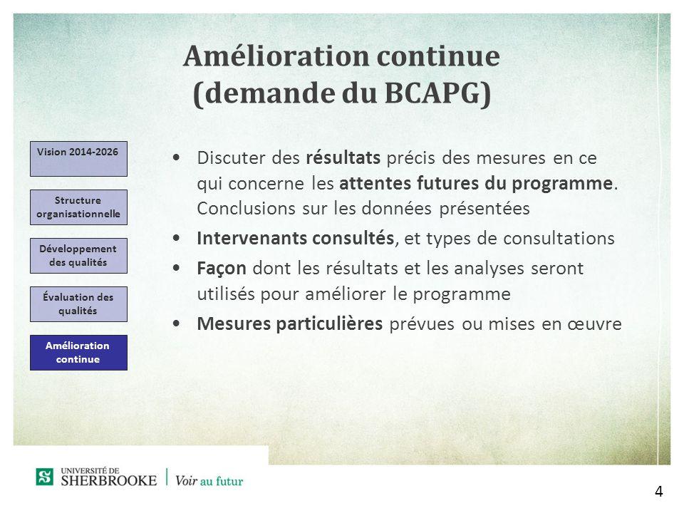 Amélioration continue (demande du BCAPG) 4 Vision 2014-2026 Structure organisationnelle Évaluation des qualités Amélioration continue Discuter des résultats précis des mesures en ce qui concerne les attentes futures du programme.