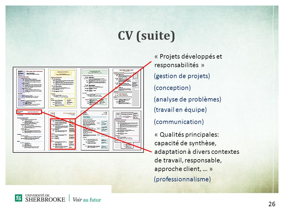 26 CV (suite) « Projets développés et responsabilités » (gestion de projets) (conception) (analyse de problèmes) (travail en équipe) (communication) « Qualités principales: capacité de synthèse, adaptation à divers contextes de travail, responsable, approche client, … » (professionnalisme)