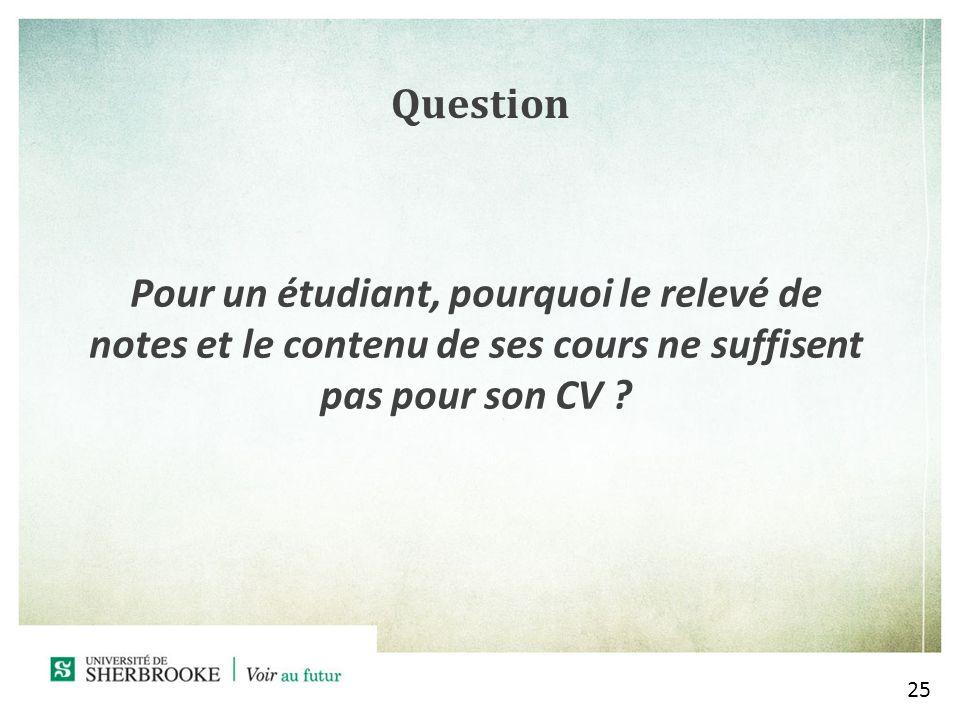 Question Pour un étudiant, pourquoi le relevé de notes et le contenu de ses cours ne suffisent pas pour son CV .