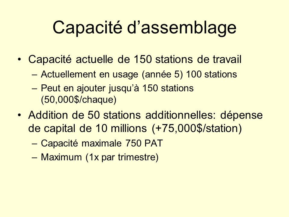 Capacité dassemblage Capacité actuelle de 150 stations de travail –Actuellement en usage (année 5) 100 stations –Peut en ajouter jusquà 150 stations (50,000$/chaque) Addition de 50 stations additionnelles: dépense de capital de 10 millions (+75,000$/station) –Capacité maximale 750 PAT –Maximum (1x par trimestre)