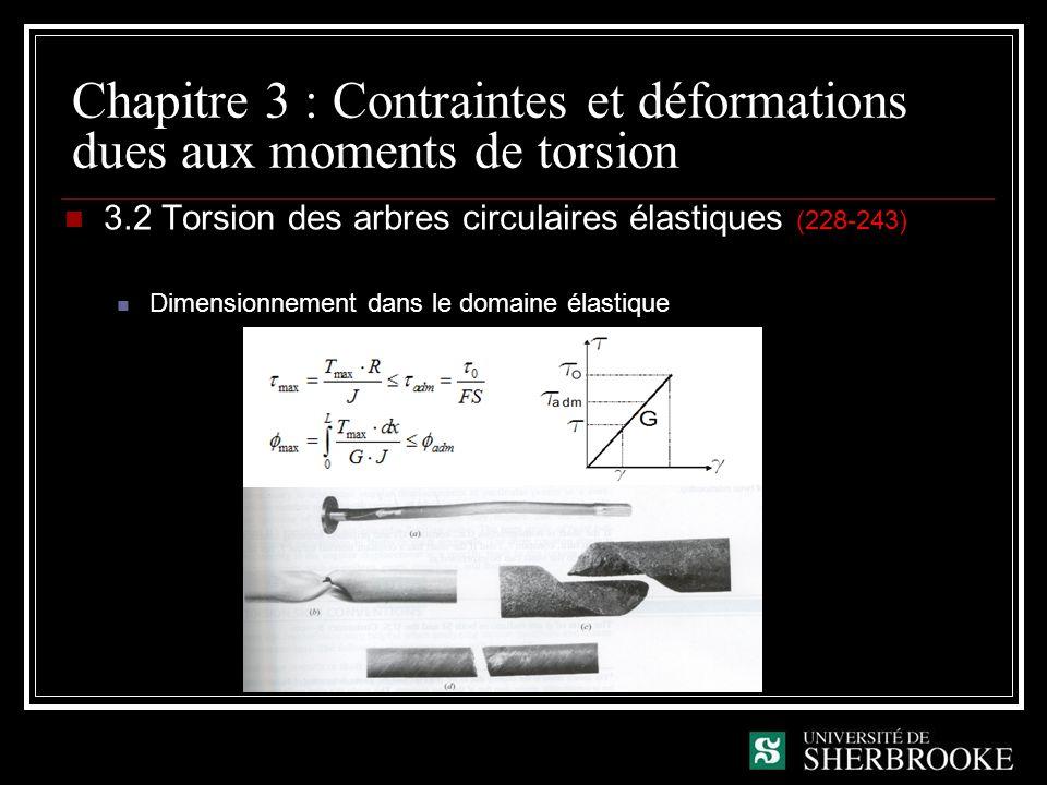 Chapitre 3 : Contraintes et déformations dues aux moments de torsion 3.2 Torsion des arbres circulaires élastiques (228-243) Dimensionnement dans le d