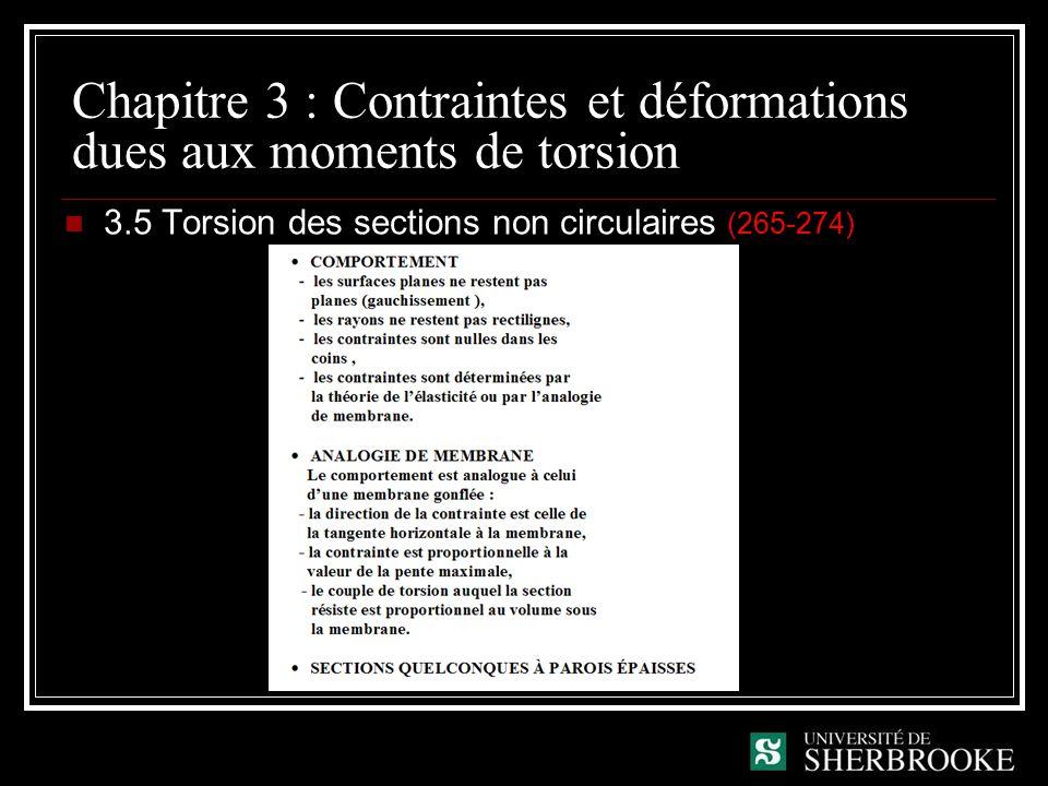 Chapitre 3 : Contraintes et déformations dues aux moments de torsion 3.5 Torsion des sections non circulaires (265-274)