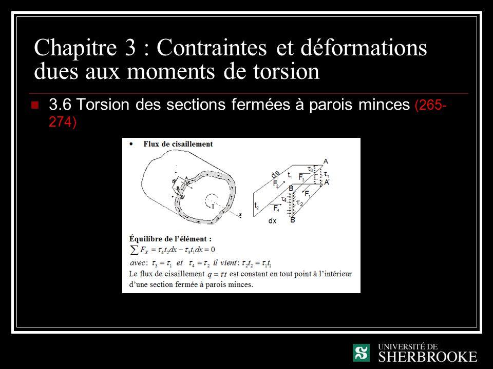 Chapitre 3 : Contraintes et déformations dues aux moments de torsion 3.6 Torsion des sections fermées à parois minces (265- 274)