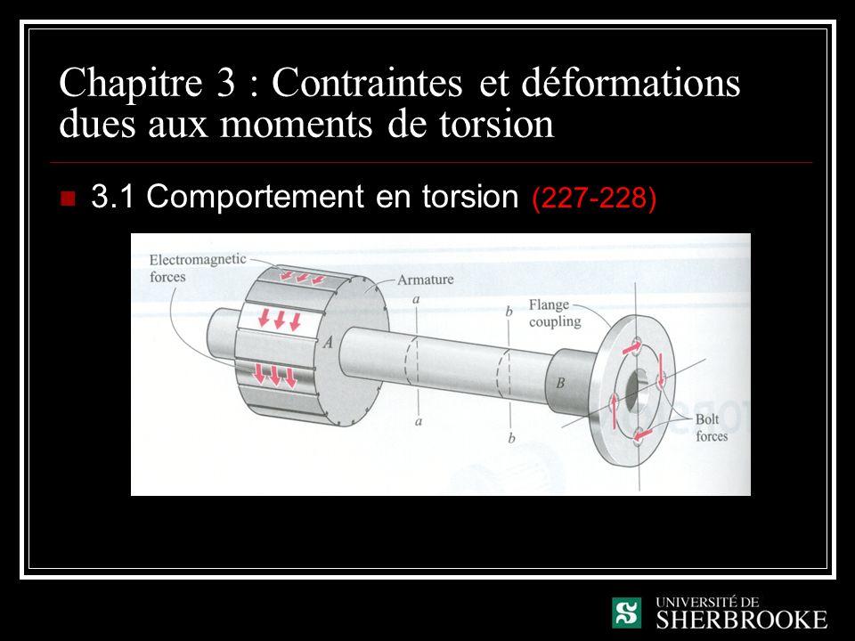 Chapitre 3 : Contraintes et déformations dues aux moments de torsion 3.1 Comportement en torsion (227-228)