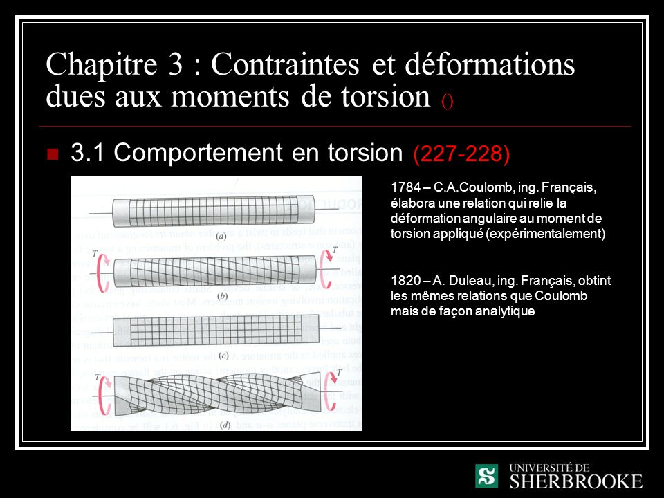 Chapitre 3 : Contraintes et déformations dues aux moments de torsion () 3.1 Comportement en torsion (227-228) 1784 – C.A.Coulomb, ing. Français, élabo