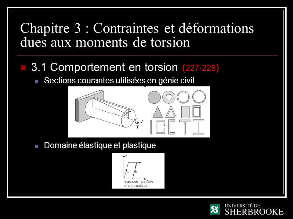 Chapitre 3 : Contraintes et déformations dues aux moments de torsion 3.1 Comportement en torsion ( 227-228 ) Mouvement de torsion Rotation autour dun même point Les déformations varient en fonction de la distance par rapport au centre de torsion Contraintes de cisaillement inversement proportionnelles au moment dinertie polaire