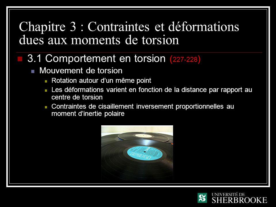 Chapitre 3 : Contraintes et déformations dues aux moments de torsion 3.1 Comportement en torsion ( 227-228 ) Mouvement de torsion Rotation autour dun