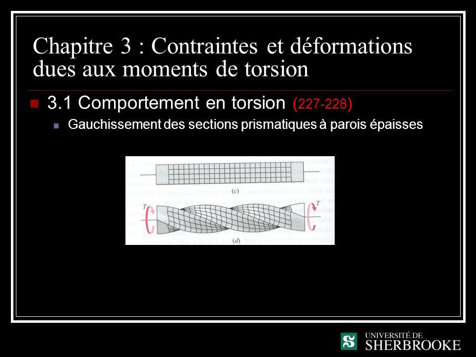 Chapitre 3 : Contraintes et déformations dues aux moments de torsion 3.1 Comportement en torsion ( 227-228 ) Gauchissement des sections prismatiques à