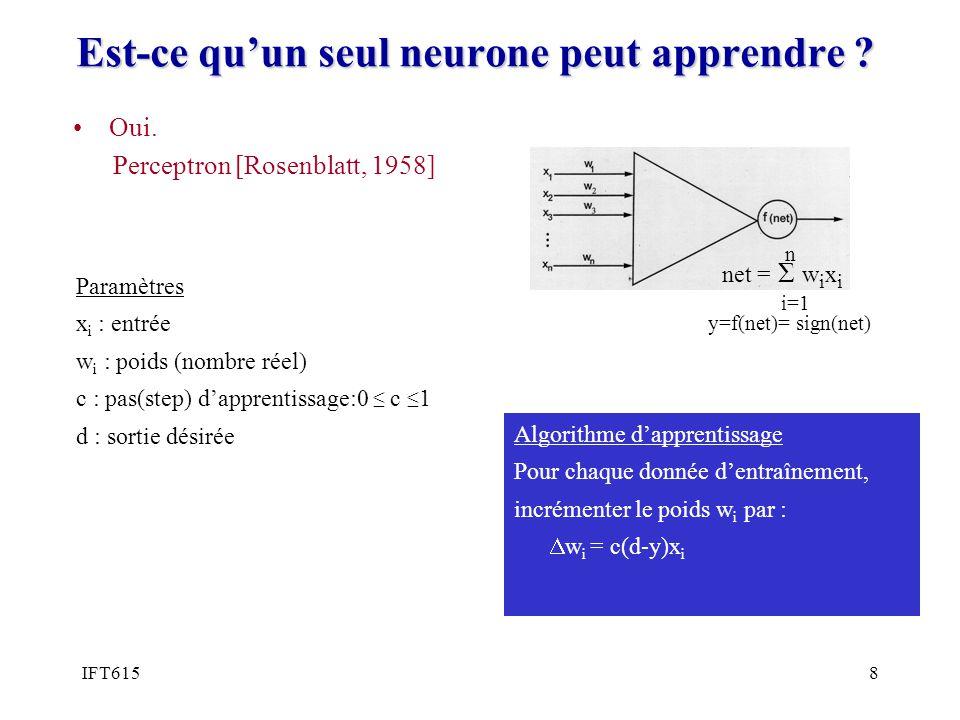 IFT6158 Est-ce quun seul neurone peut apprendre ? Paramètres x i : entrée w i : poids (nombre réel) c : pas(step) dapprentissage:0 c 1 d : sortie dési