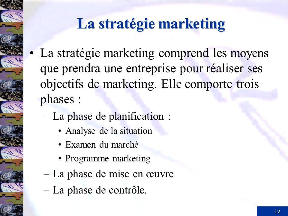 12 La stratégie marketing La stratégie marketing comprend les moyens que prendra une entreprise pour réaliser ses objectifs de marketing. Elle comport