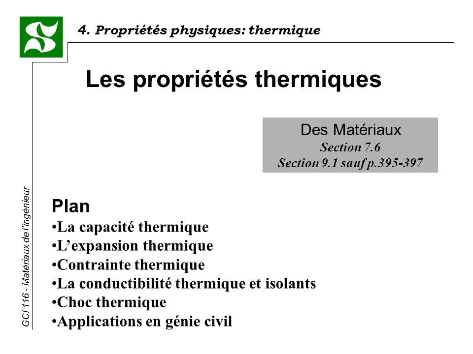4. Propriétés physiques: thermique GCI 116 - Matériaux de lingénieur Des Matériaux Section 7.6 Section 9.1 sauf p.395-397 Les propriétés thermiques Pl