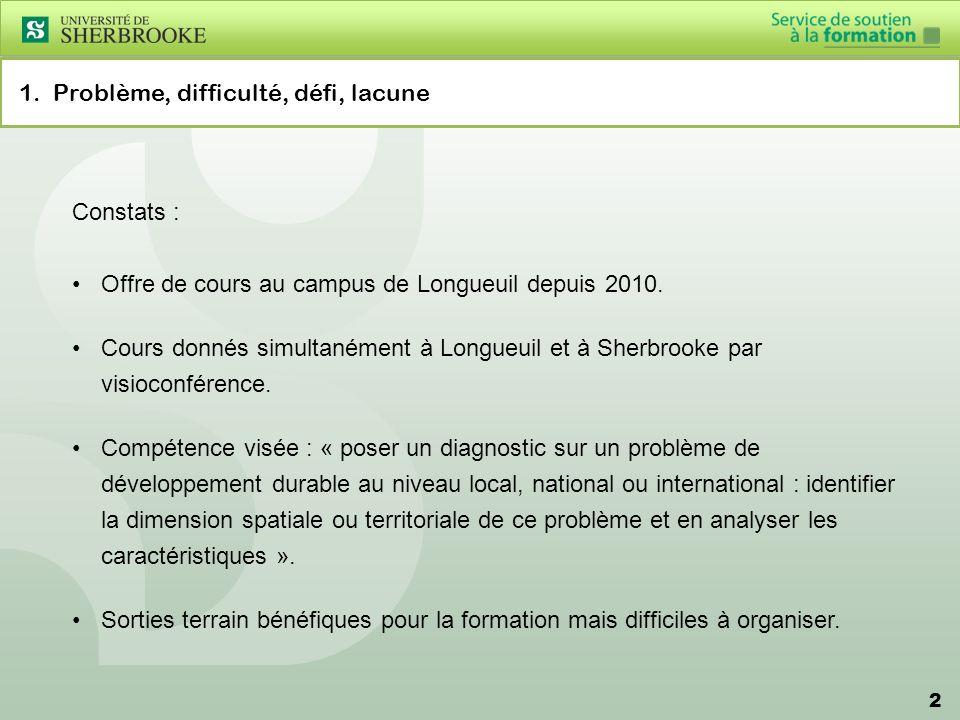 2 1. Problème, difficulté, défi, lacune Constats : Offre de cours au campus de Longueuil depuis 2010. Cours donnés simultanément à Longueuil et à Sher