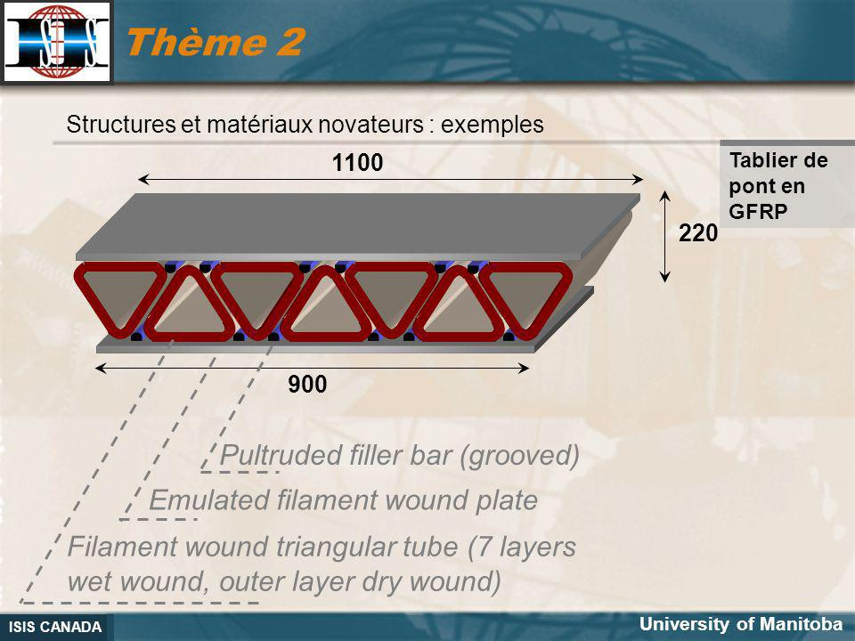 ISIS CANADA Thème 2 1100 900 220 Pultruded filler bar (grooved) Emulated filament wound plate Filament wound triangular tube (7 layers wet wound, oute