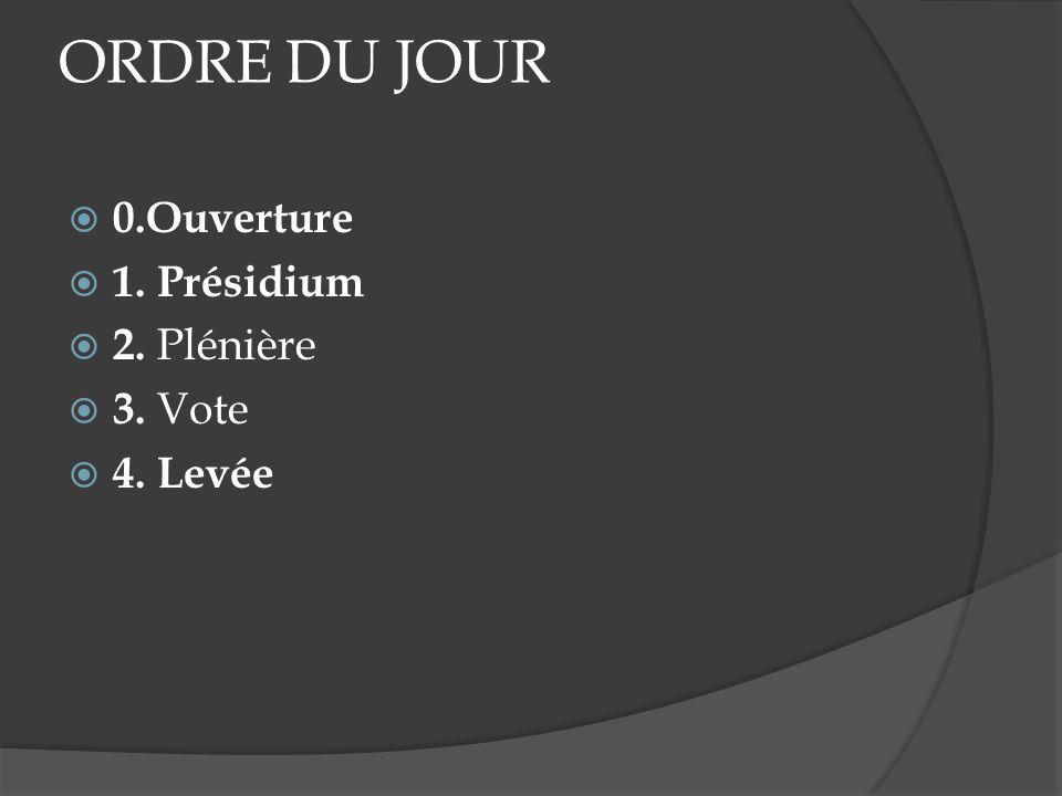 ORDRE DU JOUR 0.Ouverture 1. Présidium 2. Plénière 3. Vote 4. Levée