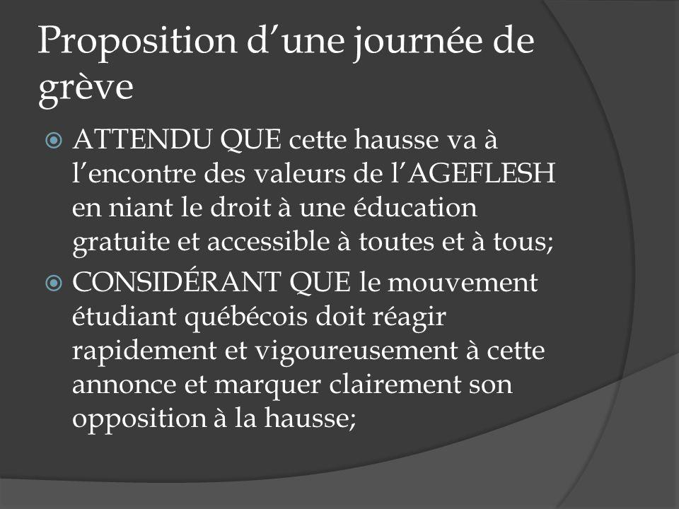 Proposition dune journée de grève ATTENDU QUE cette hausse va à lencontre des valeurs de lAGEFLESH en niant le droit à une éducation gratuite et acces