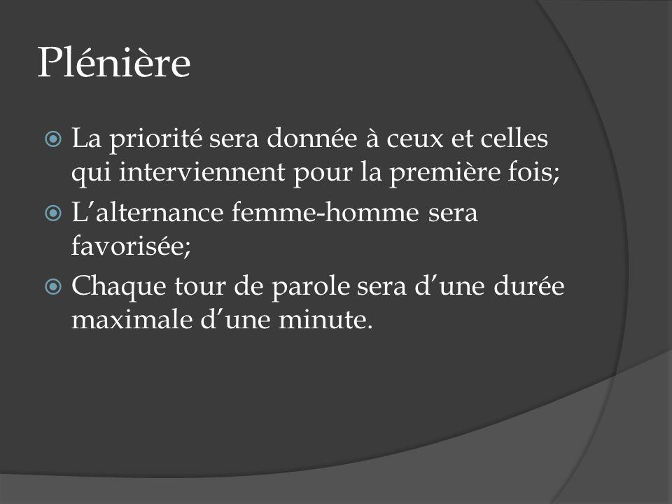 Plénière La priorité sera donnée à ceux et celles qui interviennent pour la première fois; Lalternance femme-homme sera favorisée; Chaque tour de parole sera dune durée maximale dune minute.